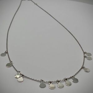 NEW 14k White Gold Discs Necklace
